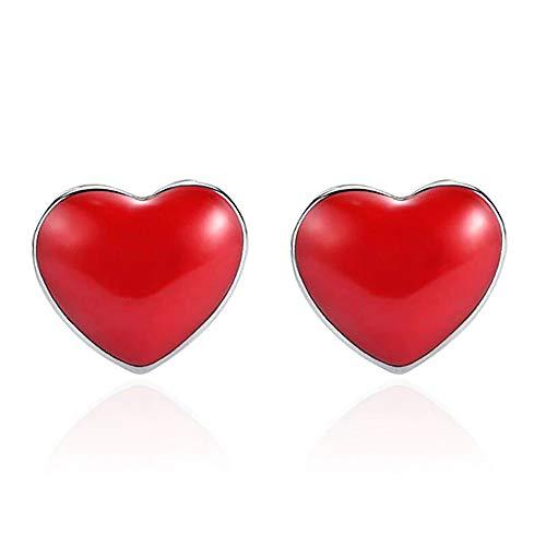 Pendientes Corazones Rojos de Plata de Ley 925 para mujer. Ideal para Regalo original y romántico