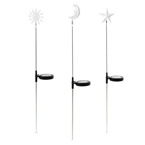 Nexos Juego de 3 lámparas solares, Cambio de Color de la Luna, de plástico y Acero Inoxidable, 80 cm