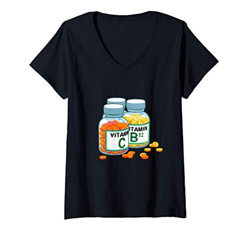 Womens Vitamins Health Nut Dietitian Nutritionist V-Neck T-Shirt