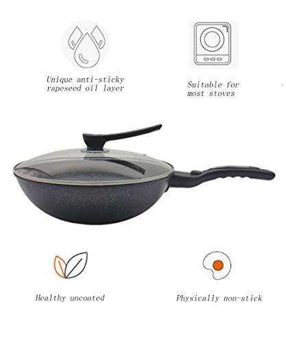 Bakplaat gietijzer 32 cm grote inductie pan met hittebestendige handvat anti-aanbakplaat anti-roest draagbaar en duurzaam minder rook gemakkelijk schoon te maken