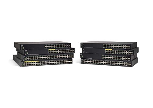 Cisco SF550X-48MP Stackable Managed Switch with 48 10/100 Ports plus 740W PoE, 4 Gigabit Ethernet (GbE) Combo SFP, L3 Dynamic Routing, Limited Lifetime Protection (SF550X-48MP-K9-NA), Black
