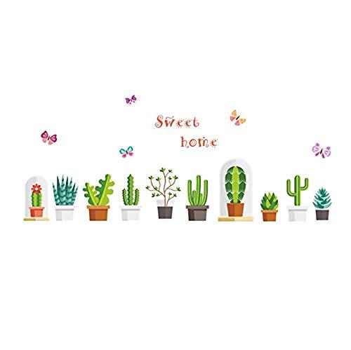 Pegatinas de pared 3D para plantas de jardín de flores pegatinas de pared calcomanías de pared para habitación de niños ventana armario decoración de cocina flor niños arte 25 x 70 cm