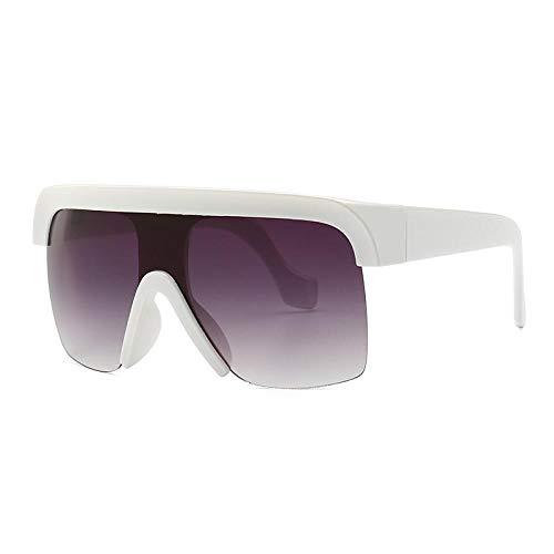 Grneric Oversized Square Sunglasses Women Vintage Flat Top Frame Shield Goggle Mirror Sun Glasses C05Whitegray