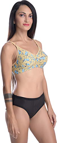FIMS - Fashion is my style Cotton 1 Bra & 1 Panty Set for Women Bra Panty Set Bra Panty Set for Women with Sexy Undergarments Lingerie Set for Women for Sexy Honeymoon Multicolour Size-34 Yellow