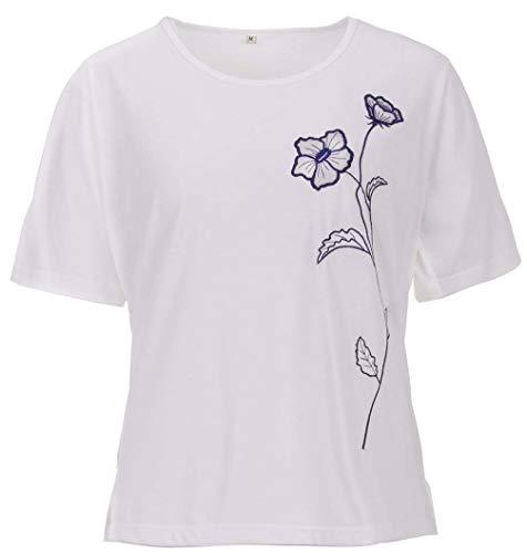 Zeitlos T-Shirt Damen Kurzarm Stickerei Blüte Rundhals Seitenschlitz, Farbe:weiß, Größe:2XL