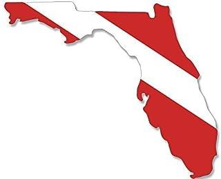 ملصق علم الغوص على شكل فلوريدا من الفينيل الأمريكي (غوص فلوريدا غواص FLA)