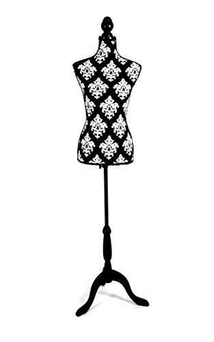 Clarie Maniquí Busto Femenino, Algodón, Blanco y Negro, 83x37.5x24 cm