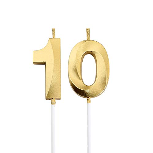 10th Birthday Candles,Gold Number 10 Cake Topper for Birthday Decorations Party Decoration