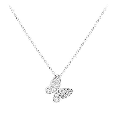 zxb-shop Collar Collar de la Mariposa de Plata esterlina Mujeres de la Manera Colgante Creativas Todo-fósforo Regalos de joyería de Plata for niñas (Grandes y pequeños) Collar Mujer (Size : A)