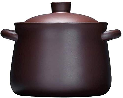 YAOSHUYANG Cazuela de Hierro China Hecho a Mano Zisha Cazuela, Cerámica Púrpura Pot Clay Clay Stockpot Sano Utensilios de Cocina con Tapa Púrpura 5.81Quga (Color : Purple, Size : 0.95Quart)