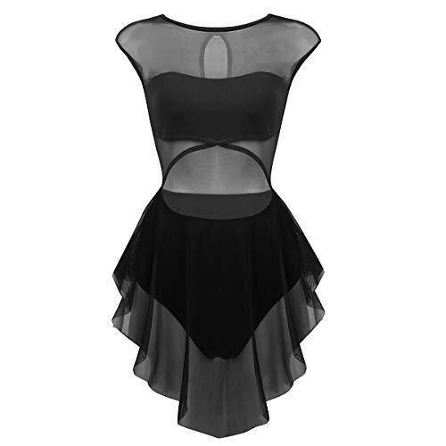 CHICTRY Robe Danse Latine Femme Asymétrique de sans Manche Robe Danseuse Rumba Zumba Salsa Robe de Ballet Costume XS-XL Noir M