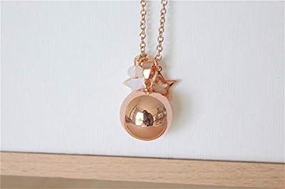 bola de grossesse chaine acier inoxydable or rose cage lisse étoitle