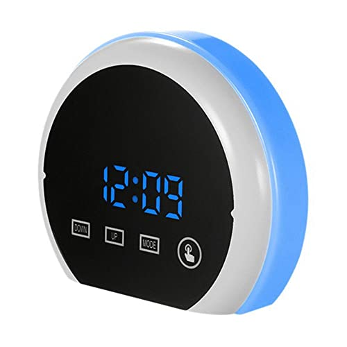 TUIHJA Reloj Despertador Digital, Reloj de Espejo LED, Reloj de Mesita de Noche, luz Nocturna RGB de 12 H / 24 H, Puertos USB Dobles, 3 Brillos, Pantalla de Temperatura
