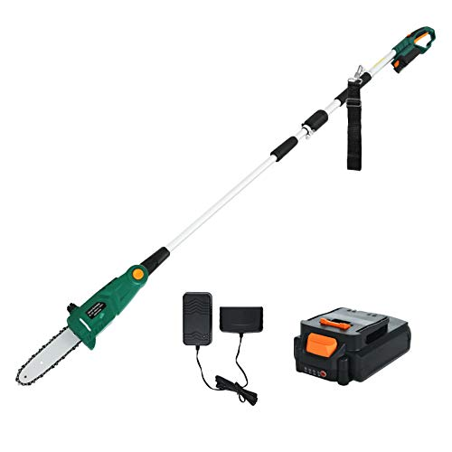 SUNCOO 20V Cordless Pole Saw, 8-Inch Electric Chainsaw Battery Powered, Multi-Angle Telescoping Power Chain Saws, Pole Pruner w/Automatic Chain Lubrication System, Battery& Charger Included