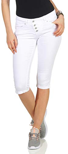 Buena Vista Damen Sommer Jeans Malibu Capri Stretch Twill Kurze Hose Knopfleiste White M