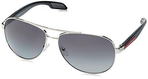 Prada Linea Rossa PS53PS - 1BC5W1 Sunglasses Steel w/ Grey Gradient Polarized 62mm