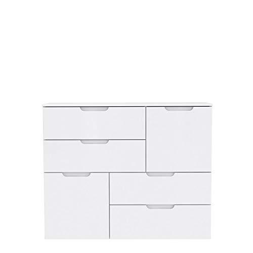 FORTE Moderne Kommode mit Hochglanzfront, Holz, Weiß Hochglanz, 114.9 x 34.1 x 92.9 cm