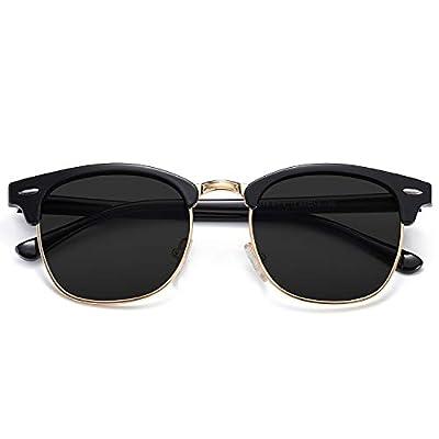 SOJOS Retro Semi Rimless Polarized Sunglasses Horn Rimmed UV400 Glasses SJ5018 with Black Frame/Grey Lens