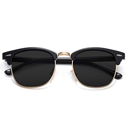 SOJOS Damen Herren Sonnenbrille Polarisiert UVprotect Optik Retro Vintage Horn Gestell Halbrahmen SJ5018 mit Schwarz Rahmen/Grau Linse