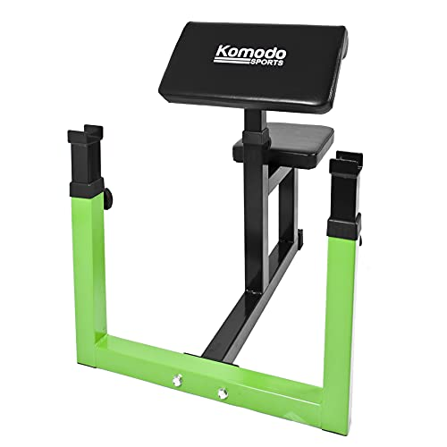 KOMODO Preacher Bicep Curl Bench - Height Adjustable Steel Home Gym Curling Support with Barbell Rests Rack