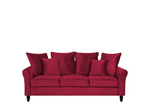 Beliani Dreisitzer Sofa Polstersofa Samtstoff rot Modern 3er Couch Bornholm