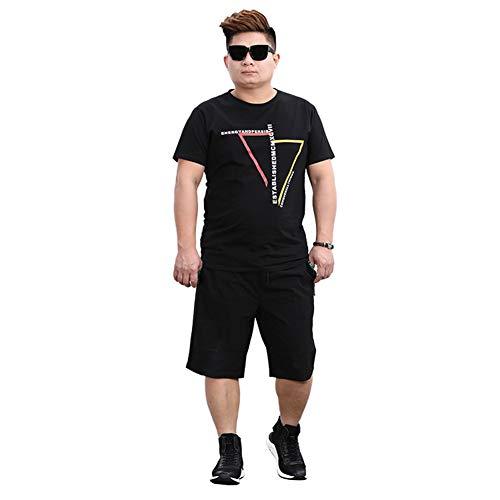 ZWLXY Mens Kurzen Satz-Sommer-T-Shirt Mit Shorts 2-Teiliges Set Trainingsanzug Männer Lässige Herren-Outfits Jogginganzüge Sport Plus Größe 7XL Streetwear,Schwarz,4XL