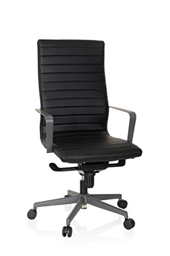 hjh OFFICE 738021 Profi Chefsessel Rossano Kunstleder Schwarz/Grau Bürostuhl modern, hohe Rückenlehne, ergonomisch