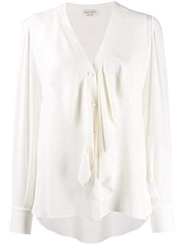 Luxury Fashion | Alexander Mcqueen Dames 606021QBAAF9016 Wit Zijde Blouses | Lente-zomer 20