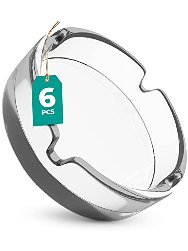 6 Posaceneri in Vetro - impilabili - 4 ripiani - lavabili in lavastoviglie - rotondo 11cm