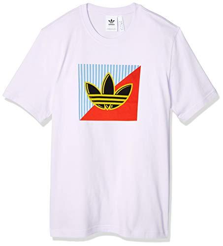 adidas Diagonal Logo T Camiseta de Manga Corta, Hombre, White, S