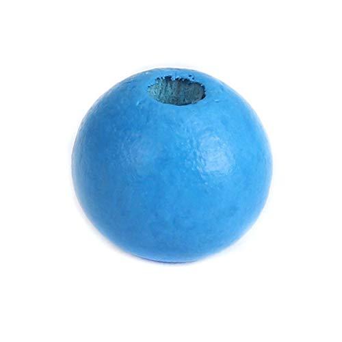 SiAura Material - 500 perlas de madera azules de 10 mm con agujero de 2,5 mm I redondas, para manualidades, enhebrar y pintar.