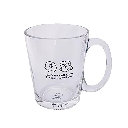 マグコップ スヌーピー  ガラス クリアコップ 透明 可愛い コーヒーコップ ジュース 牛乳 お茶 おしゃれ 大容量 ヨーグルト 子供 オフィス タンブラー カップルコップ