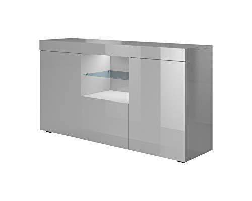 Muebles Bonitos | Aparador Moderno Sefora | Ancho 135cm x Alto 70 cm x Profundo 34 cm | Mueble de Melamina en Brillo | Color Gris