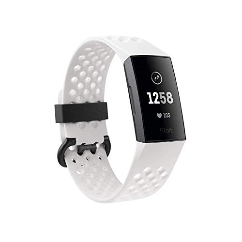 Fitbit Charge 3 Special Edition Fitness Activity Tracker Graphite/White Silicone, one Size, 0.06 Pound (Renewed)