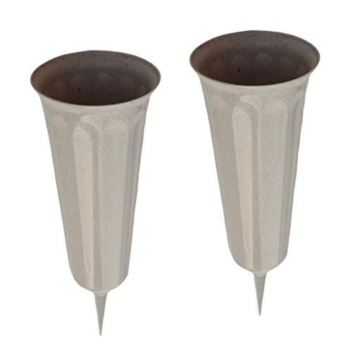 B Blesiya 2 Stück Grabvasen Blumenvasen mit Erdspieß