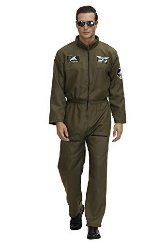 Disfraz Piloto Avion Top Gun Disfraz Militar Hombre Halloween Disfraz Adultos Trajes De Carnaval Hombre Mono Piloto Verte M