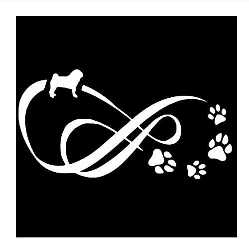 MDGCYDR Pegatinas Coche 12,2 * 6,3 Cm Pug Dog Eternity Animal Paw Print Car Styling Ventana Pegatinas Decorativas Negro/Plata