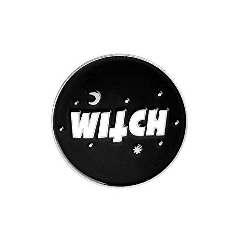 Chllrg Basic Hat Pin Ouija Brooches Witchcraft Wicca Pagan Magic Lapel pins Halloween Jewelry Brooches for Women Female-Witch-1-