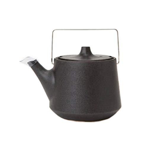 Japanische Kyusu Teekanne aus Steingut, Edelstahlgriff, Schwarz