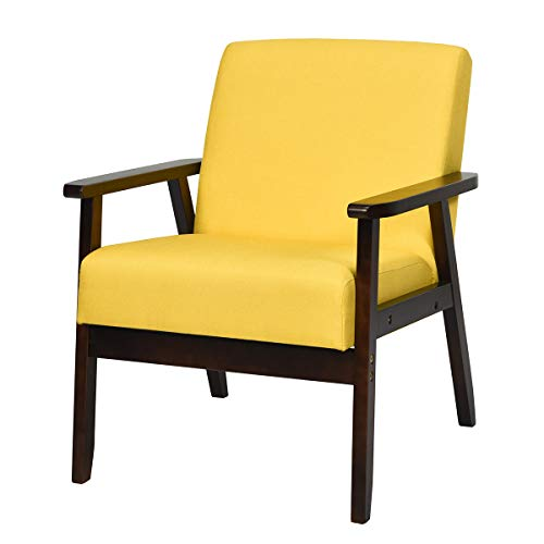 Giantex Mid-Century Modern Accent Chair, Retro Fabric Armchair, Solid Hardwood Made, Upholstered Linen Lounge Arm Chair for Living Room (1, Yellow)