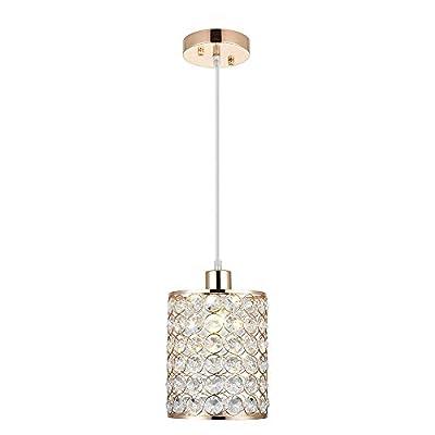 Cuaulans 1 Pack Modern Chrome Crystal Ceiling Pendant Lighting, Adjustable Pendant Light for Kitchen Dinning Room Bedroom