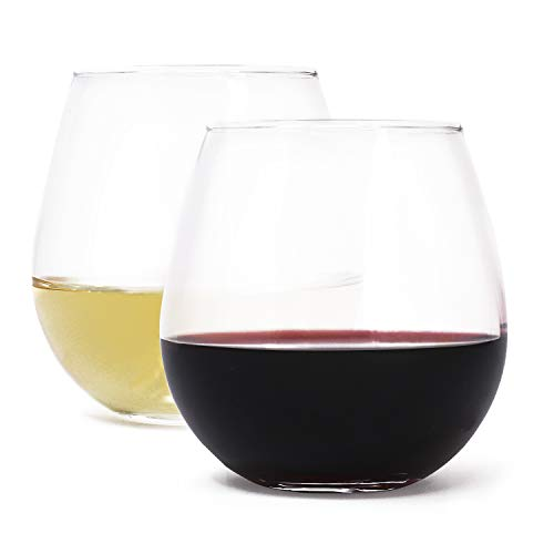 Stemless Wine Glass Set by Zeppoli, 4-Pack, Holds up to 15 oz of Your Favorite White or Red Wine, Shatter-Resistant, Ideal for Wedding Gifts, Hostess Gifts, or Thank You Gifts