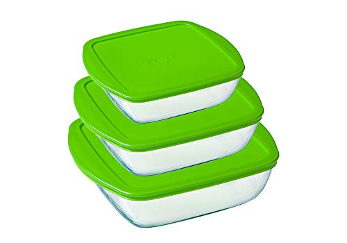Pyrex Cook & Store Set of 3 Square Glass Food Storage Dishes with Lids (0.35L, 1L, 2.2L) - BPA Free