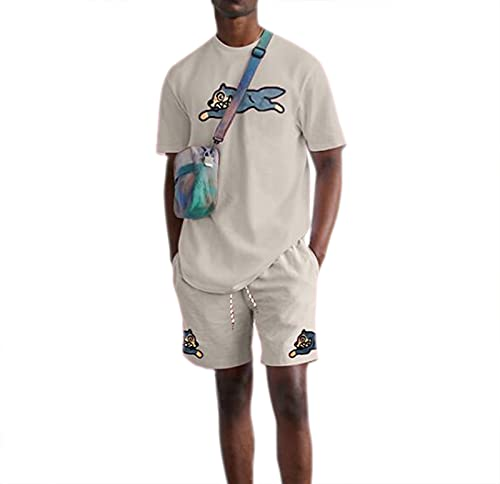 Traje de impresión en Color sólido para Hombre, Traje Deportivo y de Ocio de Dos Piezas Suelto Informal de Moda