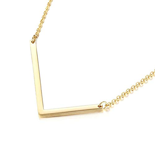 Sideways Initial Necklace 18K Gold Plated Stainless Steel Large Letter L Necklace Big Initial Pendant Monogram Name Necklace for Women