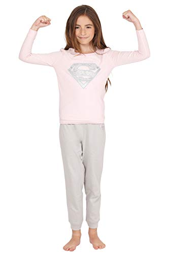dc comics Girls poco Supergirl Pajama manga larga, azul, 4