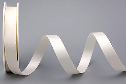 finemark 25 m x 15 mm Satinband Double Face Creme Ivory doppelseitiges Schleifenband aus Satin ohne Draht weich und glänzend Geschenkband Deko Band