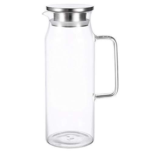 JF-XUAN 1.2Liter 51 onzas de jarra de vidrio con tapa galón té helado cubierto con tapa de la jarra jarro de agua caliente agua fría Ice Tea Vino Café de leche y jugo de bebidas jarra