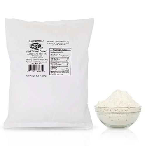 LifeSource Foods Vital Wheat Gluten (3 LB) Keto-Friendly, Vegan, Non-GMO, Great for Baking and Seitan
