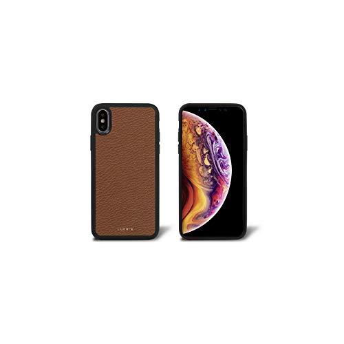 Lucrin – Capa rígida ultrafina compatível com iPhone Xs/iPhone X e carregamento sem fio – couro granulado, Tan